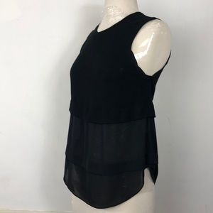 ALC Black XS Tiered Sleeveless Sheer blouse Top